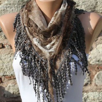 Brown Scarf -  Cowl Scarf with Lace Edge by Fatwoman