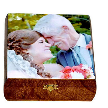Personalized Wooden Keepsake Box Treasure Trove Jewelry Cigar Photo Recipe Card Picture Box