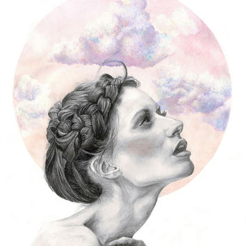 Head in the clouds Art Print by Lenita Pepa