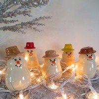 Miniature Snowmen,Holiday Home Decor, Holiday Collection, Assorted Color Hats