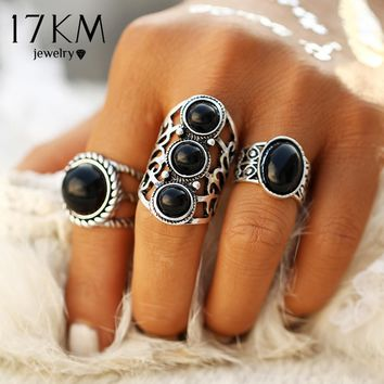 17KM Vintage Tibetan Turkish 3pcs/Set Midi Ring Sets for Women Men Boho Beach Silver Color Knuckle Rings Party Gift