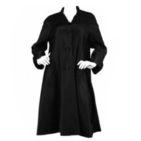 1950s Hardy Amies Couture Vintage Black Silk Satin Opera Coat