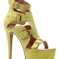 Buckle Me Up In Gold Lime Sky High Platform Heels