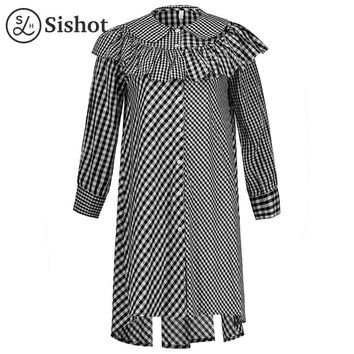 Women casual dresses autumn color block black plaid ruffle peter pan collar mid calf a line casual dress