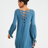 AE LONG SLEEVE LACE UP BACK SHIFT DRESS, Teal