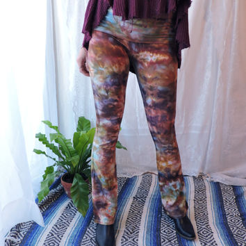 Multicolored Flare Tie Dye Yoga Pants | Maroon Gold Purple Navy