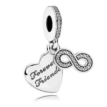 Real 925 Sterling Silver Bead Charm Heart Forever Friend With Crystal Pendant Bead Fit Pandora Bracelet DIY Jewelry
