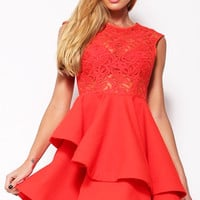 Cosmo's around the Christmas Tree Lace Dress in Red