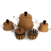Mid Century Ceramic Tea Set, Harvest Gold, 5 Pieces, Insulated Metal Jackets, Retro Kitchen