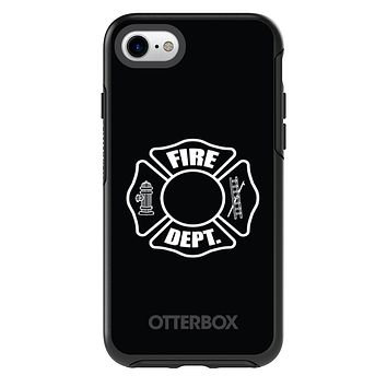 DistinctInk™ OtterBox Symmetry Series Case for Apple iPhone or Samsung Galaxy - White Fire Department