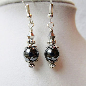 Metallic Silver Hematite & Silver Crystal Drop Earrings, Bridesmaid Gifts
