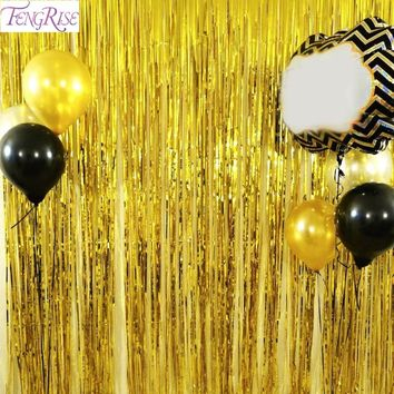 FENGRISE 1x2 Meters Gold Foil Fringe Tinsel Curtain Tassel Garlands Wedding Photography Backdrop Birthday Party Decoration