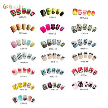24pcs/lot Fake Nail Cute Design Nail Art False Tips Medium Full Cover False Nails  with glue for kid/Girls Pre Designed Fashion