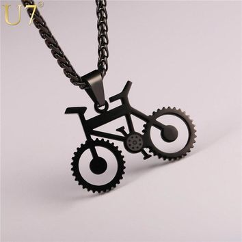 Best hippie pendant products on wanelo u7 bicycle necklace black color stainless steel bike pendants chain for menwomen 2017 mozeypictures Image collections