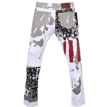 Stylish Men's Fashion Slim-fit Jeans Pants Trousers USA American Flag Jeans
