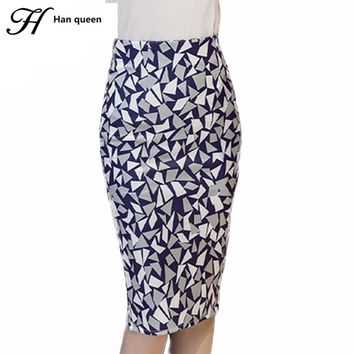 H Han Queen Plus Size Pencil Skirt Summer American femme Bodycon women skirts geometric print high waist slim vintage clothing