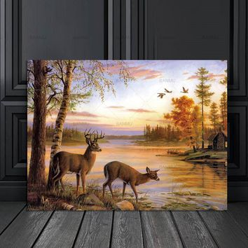 Wall art picture canvas painting poster the forest two deers posters and prints home decoration painting art print on canvas