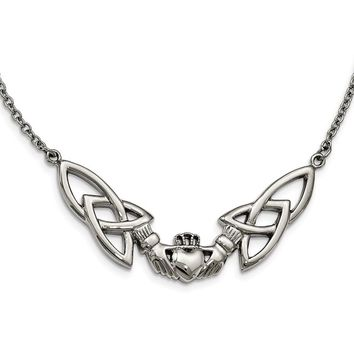 Stainless Steel Polished Claddagh Necklace 18in