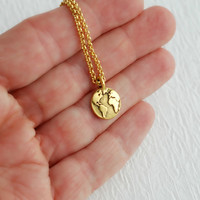 Gold Earth necklace, charm pendant world planet map globe simple everyday jewelry minimal travel adventure graduation gifts