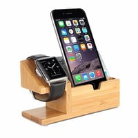 Bamboo Charging Docking Station Charger Stand Holder For Apple Watch iPhone