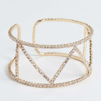 rhinestone cuff bracelet in goldtone | maurices