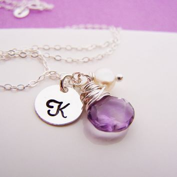 Amethyst Briolette Personalized Sterling Silver Bridesmaid Necklace