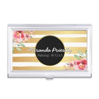 Makeup Artist Hair Stylist Floral Gold Stripes Business Card Holder