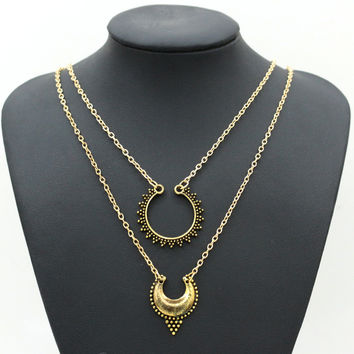 Shiny Stylish Hot Sale Double-layered Metal Necklace = 4806936580