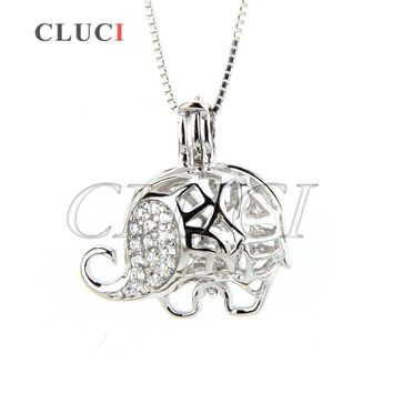 CLUCI Newest 925 sterling silver hollowed elephant necklace locket cage pendant 3pcs necklace