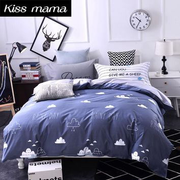 100% Cotton Bedding Set King Size Nordic Duvet Cover Set Custom size bed clothes Grey Clouds