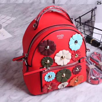 FENDI FLOWERS ZAINO LEATHER BACKPACK BAG