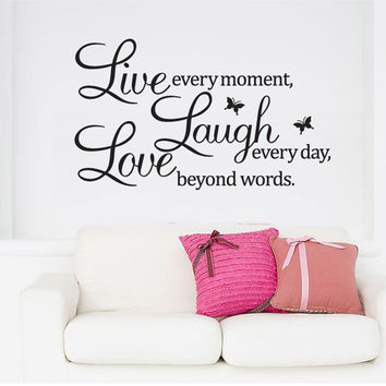 PVC Home Decor Wall Stickers Live Love Laugh Letters Transprent Waterproof Vinyl Wall Quotes Decal