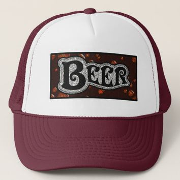 Beer Logo - Red/BlackTexture Look Trucker Hat