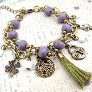 Clover, Peace, Lock and Key Tassled Bracelet