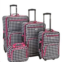 Houndstooth 4 Piece Luggage Set