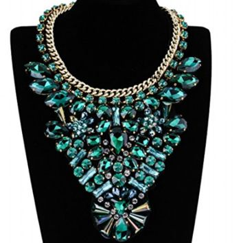 Green Statement Fashion Collar Bib Necklace
