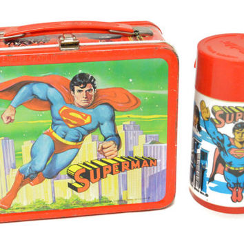Vintage 70s Superman: The Movie Aladdin Collectible Metal Lunch Box with Thermos