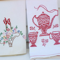 Kitchen Dish Towels Vintage Dish Towels Embroidered by WhimzyThyme