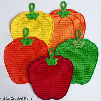 070 Sweet peppers potholder or decor - Amigurumi Crochet Pattern PDF file by Zabelina Etsy