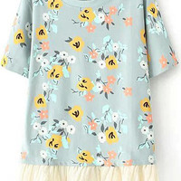 Light Blue Short Sleeve Floral Peplum Hem T-Shirt