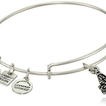 """Alex and Ani """"Charity by Design"""" Rafaelian Silver Finish Expandable Wire Bangle Bracelet with Butterfly Charm, 7.75"""""""