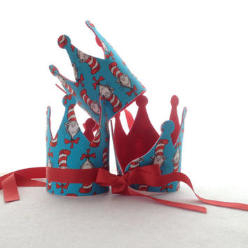 Cat in the Hat Party Hat - Dr. Seuss Birthday Crown - Dr. Seuss Party Decorations
