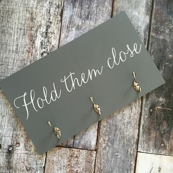 Hold Them Close Baby Wearing Organizer -- Wood Sign with Hooks