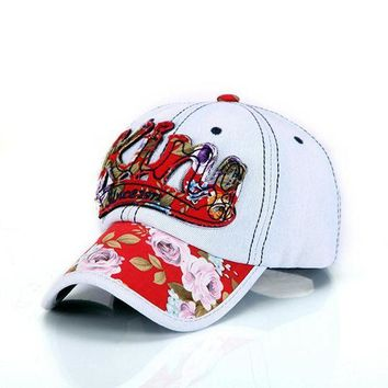 CREYCI7 1Piece Free shipping KING denim baseball cap  washed hat for lady & women  Floral cap