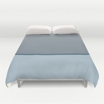Tricolore Baby Blue Gray Dark Cyan brush line Duvet Cover by Xiari