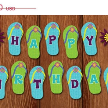 On Printable Flip Flop Flower Beach Hy Birthday Banner For Instant