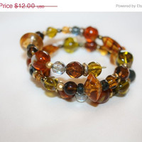 Spring Sale Vintage Amber Olive Green Bracelet Wire Wrap 1970s Jewelry Lucite Glass Bead