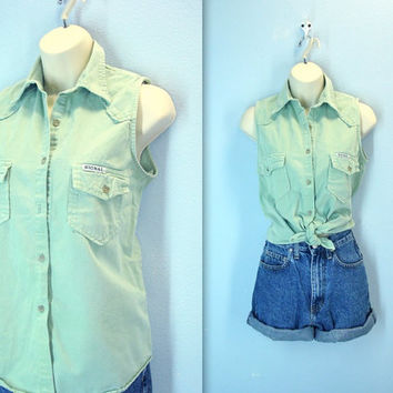 Vintage 80s Green Distressed Shirt Sleeveless Western Blouse