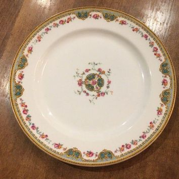 Juno Dinner Plate Haviland & Co Limoges France Schleiger Roses Scrolls EUC