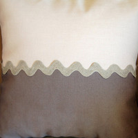 zigzag pillow cover, 2 different colour fabric with burlaup zigzag ribbon.